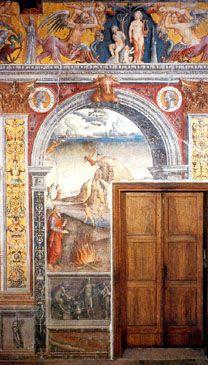 Affreschi di Giovanni Maria Falconetto (Verona, 1468 circa – Padova, tra la fine del 1534 e l'inizio del 1535). PESCI - Sala dei Mesi e dello Zodiaco di Palazzo d'Arco a Mantova (Italia), XVI secolo.