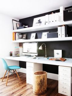9 Tips For Beautiful Organization // black and white office with white magazine files, filing cabinet, stump stool, and a desk chair // office storage ideas