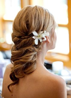 Gorgeous bridal hair with fresh flower accents.  Would look perfect with Amour Eternel | Wedding Dress | Jasmine