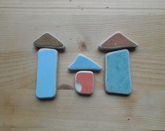 Sea pottery , Fantasy mix beach pottery shards, triangles, rectangles,  mosaic, decor, craft supplies, 6 pieces     lotto159 di lepropostedimari su Etsy