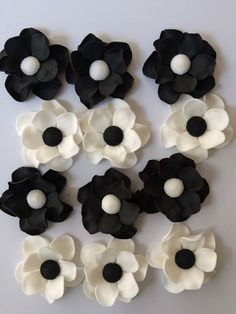 12 black and white small edible fondant flowers cupcake cake cookie toppers decorations favors sweet 16 wedding bridal shower rose by InscribingLives (16.99 USD) http://ift.tt/1PZZ3Du