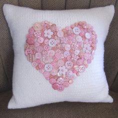 Pink button heart hand knit pillow