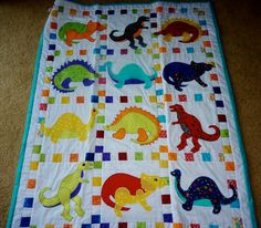 Dinosaur applique quilt by MarleeJeans on Etsy, $125.00
