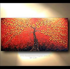 ORIGINAL Abstract Tree Painting Flower Red Orange by tjenkinsarts