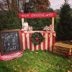 Hot chocolate stand would be adorable for a Christmas card with your kids!