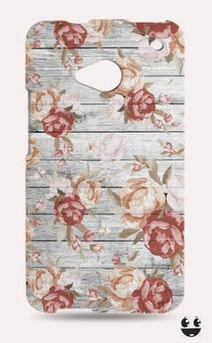 HTC One Phone Case, HTC One Case Wooden Floral