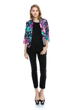 Vibrant Tropical Floral Print Blazer
