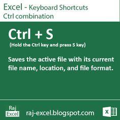 Raj Excel: Excel Shortcut Keys: Using Ctrl + S (Saves the act...