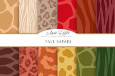 Fall Animal Prints Digital Paper by AvenieDigital on Creative Market