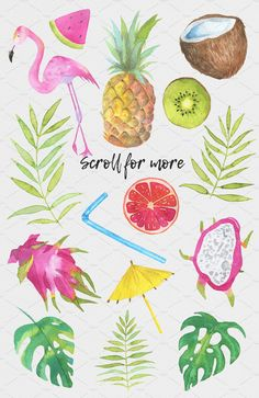 Tropical mix #watercolor#set#painted#straw
