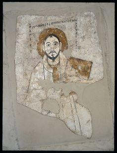 Św. Jan Złotousty (Chryzostom). Malowidło z  tzw. Kaplicy południowej katedry. Faras (Sudan), IX-1. ćw. X w. Tynk, tempera