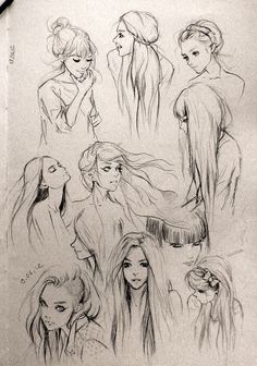 tips for drawing hair in art illustration graphics manga , anime style Hair Sketches - Figure Drawing, Drawing Reference, Drawing Practice, Anatomy Reference, Drawing Sketches, Art Drawings, Sketching, Pencil Drawings, Drawing Faces