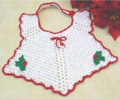 Show off your baby by making the Christmas Bib to wear at holiday dinners and special events. This darling Little Christmas Bib is a must have for the little one in your life. With an angelic shape and classic Christmas colors, this bib is perfect for any infant. Prevent messes on fancy Christmas clothes by putting this bib during meal or bottle time. Festive crochet patterns are not only fun to make, they often serve a practical purpose.