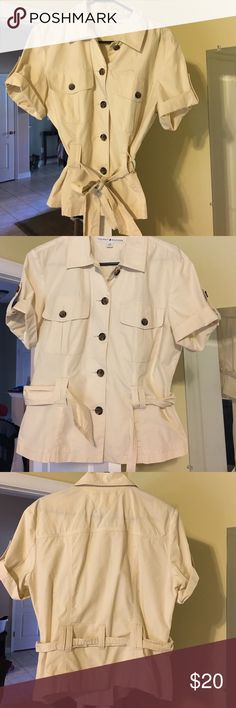 Tommy Hilfiger cream buttondown size L Very cute top. Excellent condition. Buttondown with belt. Tommy Hilfiger Tops Button Down Shirts