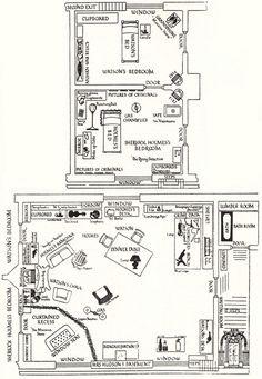 Floor plan for 221B Baker Street via the BBC TV series