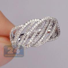 Womens 0.72 Carat Diamond Cage Openwork Band Ring 14K White Gold 14K White Gold
