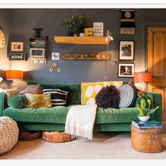 Living Room Shelves, Colorful Furniture, Blue Walls, Entertainment Center, Shelving, Couch, Design, Home Decor, Instagram