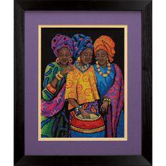 point de croix africaines, cross stitch african women 3