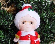 Santa Claus fieltro Adorno adorno de Santa Claus por belongtogether