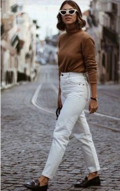 Women Jeans Outfit Loose Summer Pants Casual Winter Outfits Men Side Stripe Pants Paper Trousers Ladies Black Chinos Jeans And Heels Outfit – yuccarlily Outfit Jeans, Outfit Loafers, Jeans Outfit Winter, Blouse Outfit, Mode Outfits, Jean Outfits, Chic Outfits, Fashion Outfits, Fashion Fashion