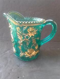 TEAL Green~ Blue EAPG Open Rose Pitcher w/ Gold Trim~3 Day Auction!