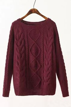 Crew Neck Cable Jumper in Burgundy - US$25.95 -YOINS Winter Warmers, Jumper, Crew Neck, Burgundy, Ankle Boots, Pairs, Skinny, Knitting, Long Sleeve