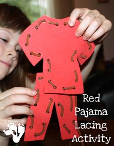Red Pajama Lacing Activity - This is a great activity to go with the book Llama Lama Red Pajama - 3Dinosaurs.com