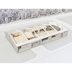 """Small and simple office building which fits seamlessly into the surrounding area, built within a limited construction budget. Laconic but sophisticated inner structure contains spatial intrigues, diverse use options and different atmospheres — semi-open office space accommodates few office rooms — """"boxes"""" along with spaces in-between them, usable for other supporting purposes — meeting rooms, a silence room, resting space, a play room, a kitchen and a dining room with a terrace. Open Space Office, Meeting Rooms, Office Interiors, Playroom, Terrace, Boxes, Dining Room, Budget, Construction"""