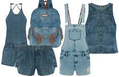 Jeans mil da esq. pra dir.: macacão (R$ 119,99), short 79,99), mochila (R$ 179,99), jardineira (R$ 149,99) e blusa (R$ 79,99)