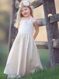 Linen & Lace Maxi Flower Girl Dress – Country Couture Company