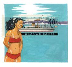Original Framed Art: Hungarian Bikini Girl and Ship, Postage Stamp Painting