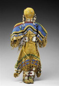 Native American Doll  --  Circa 1890  --  Deerskin & glass beads