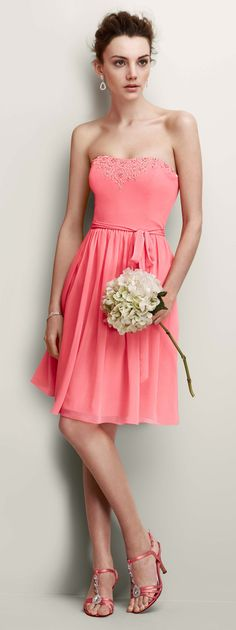 Sugar, spice, and everything nice, this sensational chiffon ensemble vows to wow in colorful Coral Reef! Image featured David's Bridal #bridesmaid #dress Style F15115. #DBBridalStyle Learn More About David's Bridal's Pinspire My #Wedding #Contest: http://apps.facebook.com/286737191431847 #DBBridalStyle