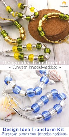 Design Idea Transform Kit: European Bracelets And Necklaces From Czech Glass Large Hole Beads | SAVE it! | www.CzechBeadsExclusive.com #czechbeadsexclusive #czechbeads