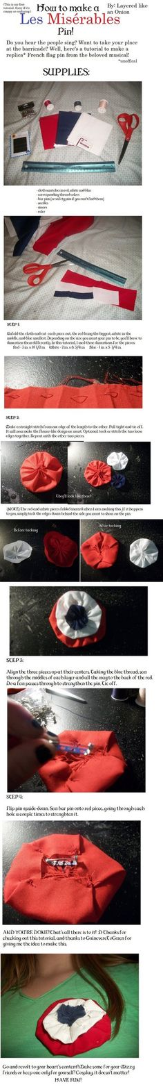 How to make a LES MISÉRABLES French flower pin.