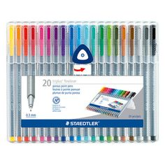 Staedtler's Fineliner Triplus 20-Pack Box contains a selection of 20 vibrant colours of fine-point pens. While the striking fuchsia, violet, and aquamarine don't need a reason, scientific research has
