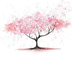 Cherry Tree Landscape painting-Watercolor-Archival by Ireart