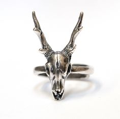 Silver Stag Deer Skull Ring Antler Animal 427 by mrd74 on Etsy https://www.etsy.com/listing/200248200/silver-stag-deer-skull-ring-antler