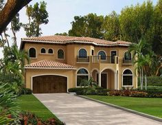 Trendy home plans florida master suite 46 Ideas Mediterranean Living Rooms, Mediterranean Homes Exterior, Mediterranean House Plans, Mediterranean Decor, Tuscan Homes, Mediterranean Architecture, Modern House Colors, Home Bar Designs, Exterior House Colors