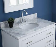 37in White Carrara Marble Vanity Top   MAUT370WT