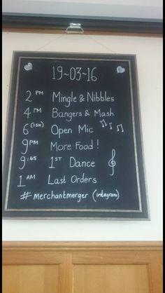 Wedding reception itinerary. Blackboard