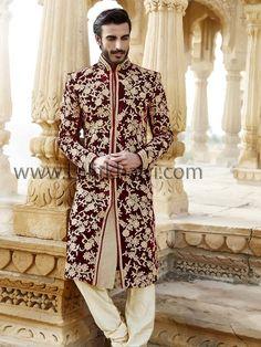 fullonwedding-Groom's wear-wedding striking sherwani designs for men-maroon velvet Sherwani For Men Wedding, Mens Sherwani, Sherwani Groom, Wedding Dress Men, Indian Wedding Outfits, Wedding Men, Indian Outfits, Punjabi Wedding, Indian Weddings