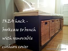 IKEA hack - bookcase to bench with a removable cushion cover