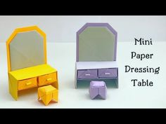 Toilet Paper Origami, Toilet Paper Crafts, Paper Crafts For Kids, Diy Paper, Easy Crafts, Origami Furniture, Paper Furniture, Origami Table, Origami Easy