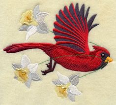 FLYING CARDINAL  Machine Embroidered Quilt by AzEmbroideryBarn, $22.50