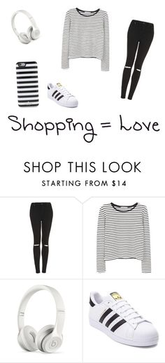 """Cool in white and black"" by maggielona ❤ liked on Polyvore featuring Topshop, MANGO, Beats by Dr. Dre, adidas and Kate Spade"