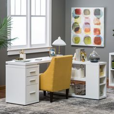 Hudson L-Shaped Desk - White - This Hudson L-Shaped Desk – White provides a spacious workspace for your home or office, surrounding you on two sides so you can tackle...