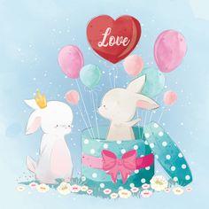Bunny gives surprise Premium Vector Watercolor Drawing, Watercolor Texture, Pink Watercolor, Watercolor Background, Vintage Grunge, Cute Love Cartoons, Cute Cartoon, Cute Animal Drawings, Cute Drawings