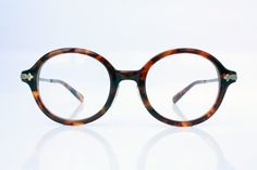 Handmade 70s 80s Round Thick eyeglasses Engraved by Antiqueelse