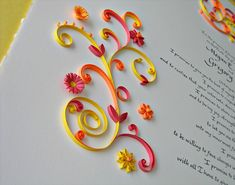 quilled marriage certificate